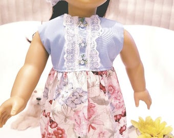 "Dixie-crafted Country Bouquet Dress to fit 18"" Dolls including those from the American Girl Doll Clothes Company"