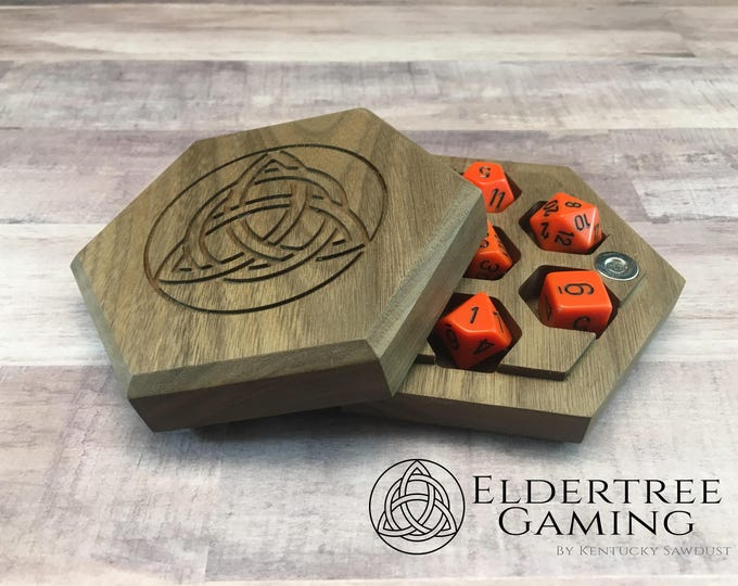 Premium Dice Vault - Hexagon Shape - Walnut - Eldertree Gaming