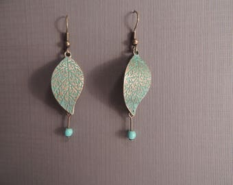 Vedrigis Leaf with Turquoise Howlite Dangle Earrings