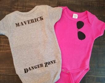 Aviator Sunglasses Baby Onesie Grey or Pink - Top Gun Onesie - Danger Zone Onesie - Maverick - Goose - Iceman - CUSTOM Bodysuit