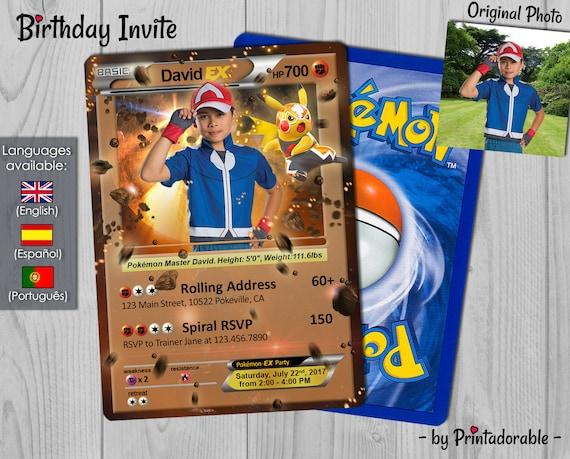 Pokémon Card Invitation - Fighting Pokemon - Fight Pokémon GO Invite -  Birthday Invitation and Poké Card - Digital File