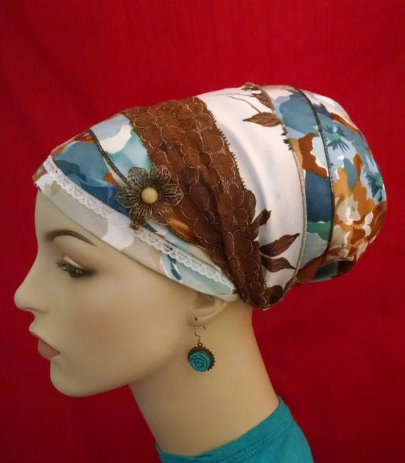ARIZONA silky cotton and lace sinar tichel, tichels, chemo scarves, head scarves, apron tichels