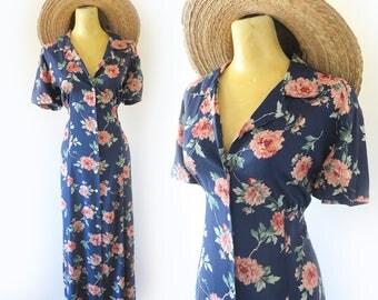 Vintage 90's Navy Blue + Pink Floral Midi Dress Size Large 38 Bust