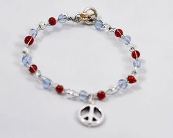 Women's Peace Symbol Bracelet with Beads