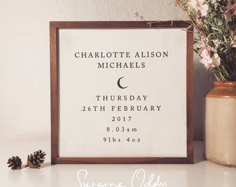 Personalised birth announcement, baby birth details, personalised baby birth details, framed baby details, personalised new baby frame