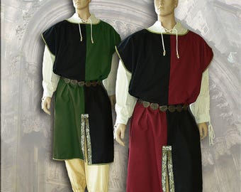 Medieval Mi-Parti tunic tunic cotton