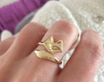 Fox Ring - Ajustable Ring - Gold - Silver - Fox Jewelry - Dainty Ring - Minimalist Ring - Minimalist Jewelry - Gift for Her - Mother's Day
