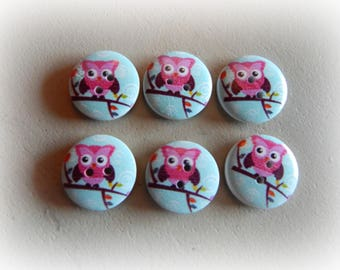 6 buttons round OWL / OWL light blue and pink 20 mm
