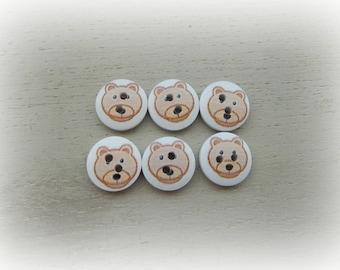 6 wooden buttons round bear pattern - mixed - 15 mm