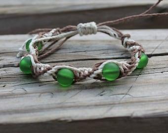 Green seaglass adjustable hemp macrame bracelet