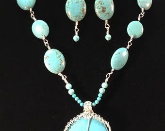 Wire Wrapped Jewelry, Magnesite Necklace Set, Turquoise Magnesite, Turquoise Magnesite Jewelry, Wire Wrap Turquoise Magnesite