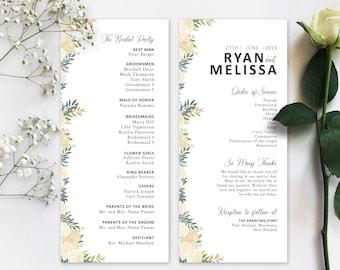 "Wedding Program Download | Editable 4""x9"" Template |  Digital Download PDF | Program Design | Custom Wedding Card | Spring Summer Wedding"