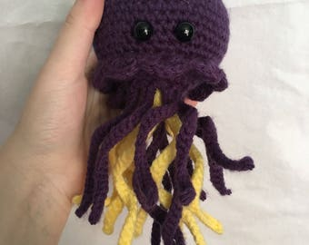 READY TO SHIP handmade crochet amigurumi art toy stuffed animal toy jellyfish plushie