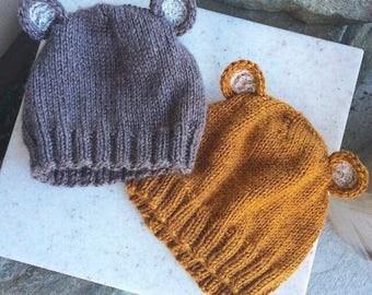 Brown Lacy Bear Earred hat