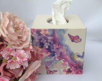 Tissue box cover Decoupage wooden, Pink Flowers & Butterfly napkins, hand crafted, tissue dispenser, bedroom decor, Mothers Day Gift, mums