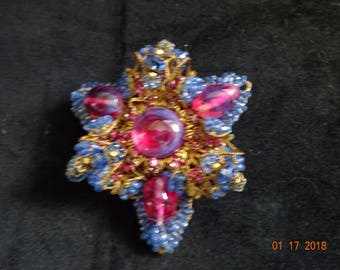 Miriam Haskell Beaded Iridescent Brooch