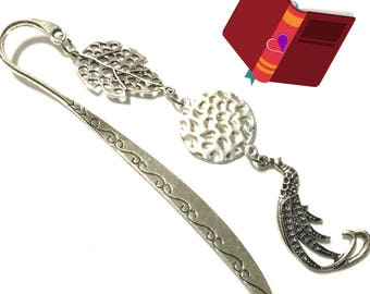 Peacock and Charms Bookmark, Slim Etched Silver Bookmark OR Letter Opener, Bookworm Gift, Book lovers Gift, Anytime gift, Stylish Gift