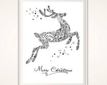 Reindeer Wall Art - Merry Christmas Print, Christmas Printable Art, Reindeer Art, PRINTABLE Christmas Wall Art, Holiday Printable, Downloads