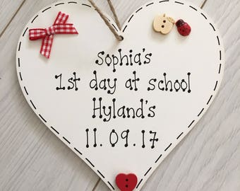 Personalised First 1st Day at School Nursery Good Luck plaque sign Gift Present keepsake