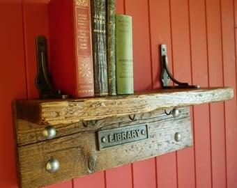 Vintage Library Bookshelf Rustic Industrial Bookcase Storage Book Shelf Reclaimed Wood Furniture