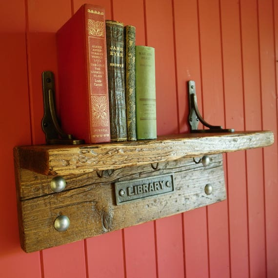 Vintage Library Bookshelf Rustic Industrial Bookcase Storage Book Shelf Reclaimed Wood Furniture
