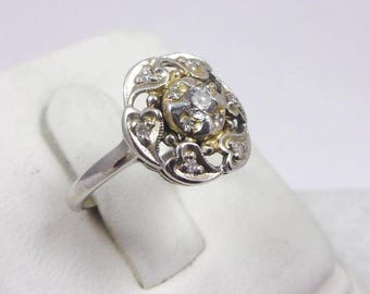 Solid 14K White Gold 0.24 Carat Diamond Heart Ring Size 6, 2.8 grams