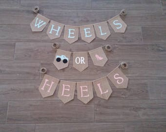 Wheels or Heels Gender Reveal Banner, Wheels or Heels, Gender Reveal Sign, Gender Reveal Party Decor, Boy or Girl Baby Shower Banner