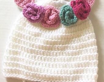 Crochet Unicorn Hat - Made to Order - Toddler sized Unicorn Hat