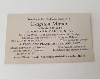 1920s Cragston Manor Business Card Highland Falls New York former JP Morgan Chase Estate Between West Point and Bear Mountain Bridge vintage