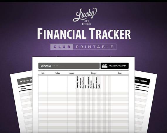Financial Tracker - CLUB Printable Worksheet