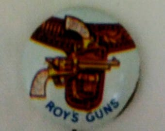 Vintage Roy Rogers/1953 Roy Rogers Pinback Button/ Roys Guns/Post cereal/Cowboy Collectable