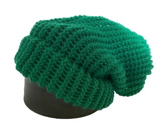 Green Knitted Slouch Hat - Adult Large Ready to Ship Knitted Beanie