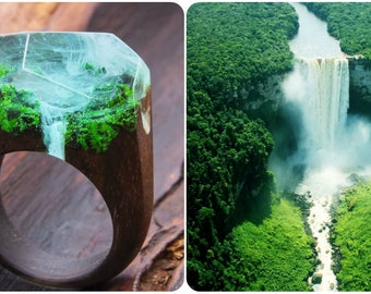 Waterfall wooden resin ring. Eco epoxy jewelry. Green Wood the secret of the magical world in a tiny landscape in every decoration.