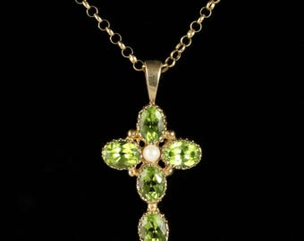 Peridot and Pearl Gold Cross Pendant and Chain