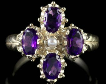 Amethyst Pearl Gold Cluster Ring