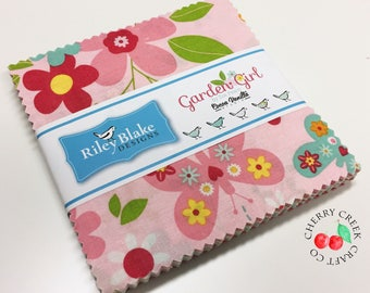 SALE Charm Pack, Garden Girl Fabric, Riley Blake Designs, Zoe Pearn Fabric