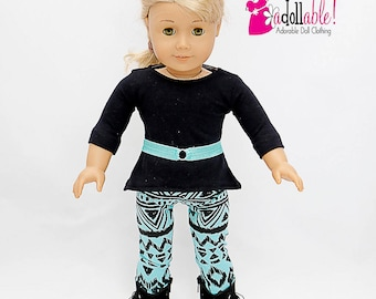 American made Girl Doll Clothes, Black  Asymmetrical Top with Teal Aztec Inspired Leggings made to fit like American Girl Doll clothes