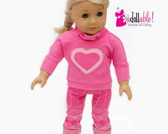 American made Girl Doll Clothes, 18 inch Doll Clothing, Pullover, Pink/Dark Pink Leggings, made to fit like American girl doll clothes