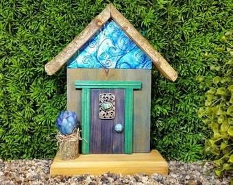 Dark Blue Fairy Door with Vintage Trinket Window