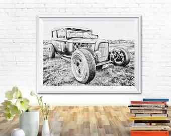 Truck prints, prints black and white, prints for kitchen, prints for bedroom, prints for office, black and white prints, car prints