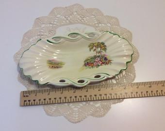 Pottery dish, vintage dish, decorated dish, garden design, plaited edge, Royal Staffordshire pottery, English pottery,