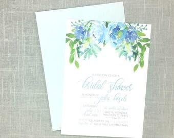 Bridal Shower Invitation - Greenery - Dusty Blue - Botanical - Floral - Wreath - Elegant - Bridal Shower - Printed Invitations