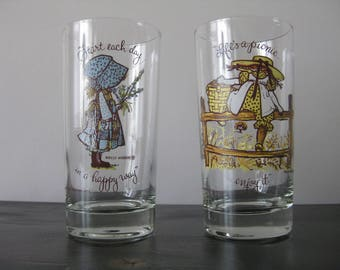 American Greetings Holly Hobbie Glasses (Set of 2) / Holly Hobbie Drinking Glasses- Happy Way & Life's a Picnic /