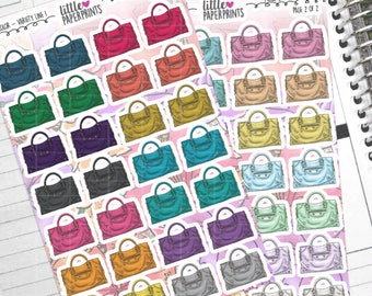"""56 Purse Stickers - """"Purse Bag With Handle"""" Stickers - Multi Color Variety Line 1 Decorative Planner Stickers"""