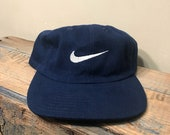 Vintage nike navy blue hat // big logo swoosh // embroidered blue hat snapback // retro nike EUC // baseball dad hat