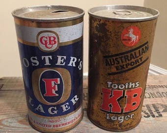 BIG SALE Rusty and dusty beer cans // Lot of 2 // Vintage beer cans // Tooths KB Lager // Big tall Pint cans // Foster Lager // Tall Boys