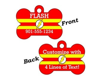 The Flash Double Sided Pet Id Tag for Dogs and Cats Personalized w/ 4 Lines of Text