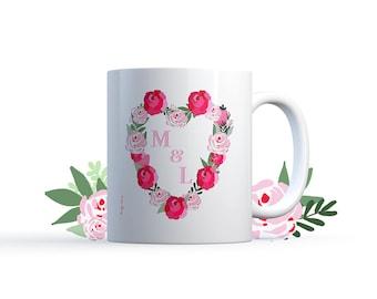 "Mug ""Initials Roses & peonies"" illustration Special personalized wedding / love Nadja"