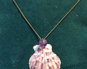 Custom Mermaid's Shell Pendant (Carnelian, Amethyst, or Faux Pearl!)