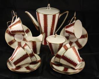 Art deco coffee set, Vintage Coffee set, mid century coffee set, demitasse coffee set, Seltmann coffee set, mid century porcelain